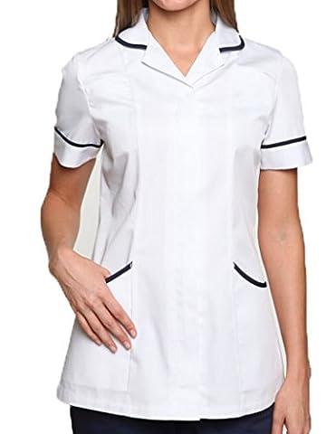 Nightingale Health Healthcare Nurses Doctors Therapist Massage Tunic Uniform (12, White/Navy)
