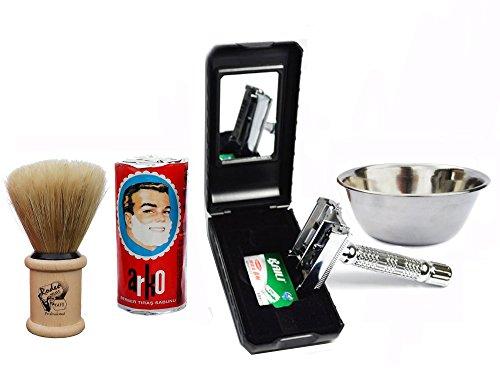Baili ® Shaving Set Silver Plated Butterfly Double Edge Razor - Shaving Kit Natural Shaving Brush Arko Shaving Soap Stainless Steel Slim Shaving Bowl Double Edge Razor Kit Fathers Day Gift