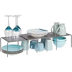 mDesign étagère de cuisine (lot de 3) - égouttoir pratique en métal pour plus d'espace de rangement - étagère cuisine télescopique rétractable - gris