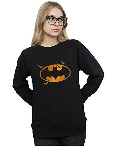 (DC Comics Damen Batman Halloween Logo Sweatshirt Large Schwarz)