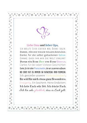Danke Oma und Opa - Danksagung für Großeltern Bild optional mit Rahmen – Geschenk Geschenkidee Geburtstag Hochzeitstag Oma Opa Kunstdruck DIN A4