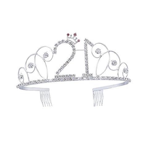 Frcolor Couronne d'anniversaire en cristal diadème 21e cadeau d'anniversaire Princesse Couronne accessoires de cheveux (argent)