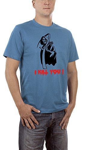 Halloween Schere Rock Kostüm Papier (Touchlines Unisex/Herren T-Shirt Sensemann - I Kill you !, steelblue, XXL,)