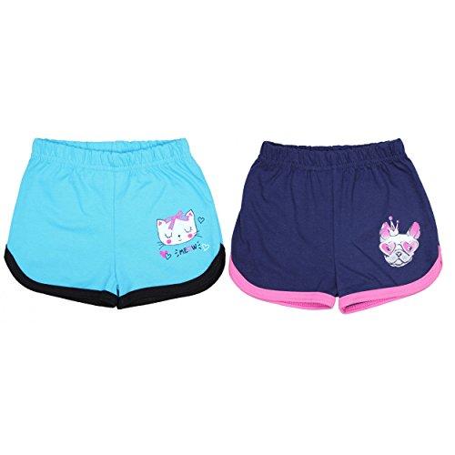 TupTam Mädchen Sommer Shorts mit Print 2er Pack, Farbe: Türkis / Dunkelblau, Größe: 104