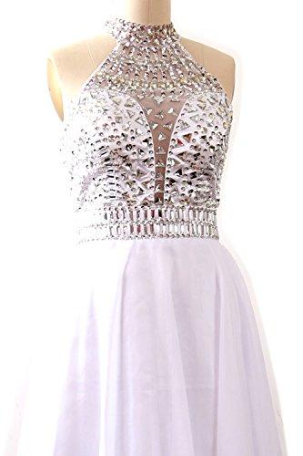 MACloth Women Halter High Neck Sleeveless Long Prom Party Dress Evening Gown Weiß