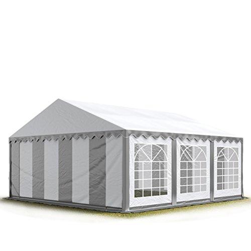 TOOLPORT Party-Zelt Festzelt 4x6 m Garten-Pavillon -Zelt 500g/m² PVC Plane in grau-weiß Wasserdicht
