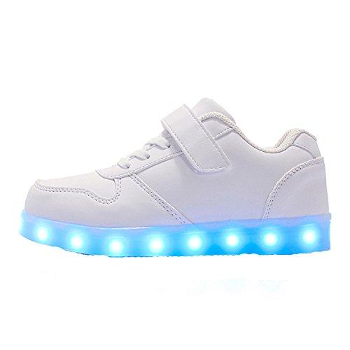he Kinder Jungen Mädchen USB Ladegerät Low Schuhe Sportschuhe Flash Schuhe Freizeitschuhe Weihnachten Halloween 7 Farben Weiß 34 (Halloween-angebote 2017)