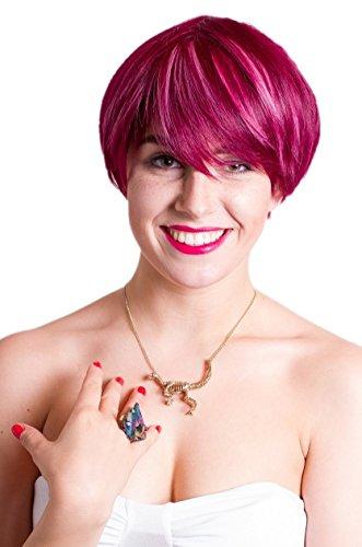 stuft rötlicher Pixie mit rosa gesträhnt Fashion Alltag kurze Perücke (Kostüme Mit Kurzen Rosa Perücke)