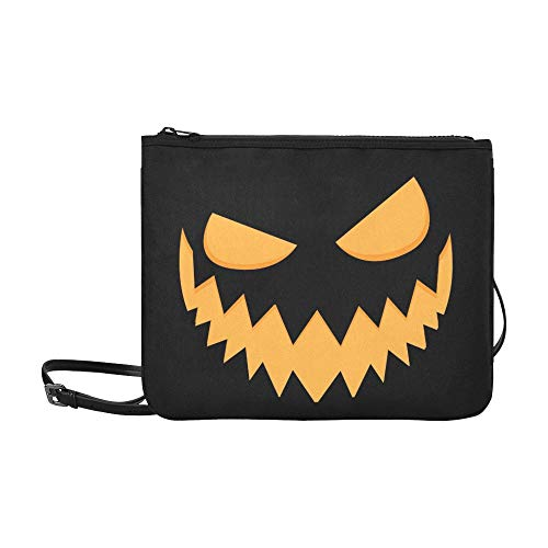 ht auf Kürbis Scary Custom hochwertige Nylon Slim Clutch Crossbody Bag Umhängetasche ()
