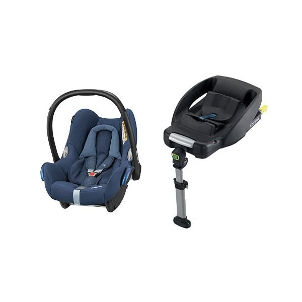 Maxi-Cosi Cabriofix Group 0+ Car Seat, Nomad Blue with EasyFix Car Seat Base, Isofix and Belt Maxi-Cosi Optimal side impact protection: maxi-cost's side protection system technology features in the wings of the car seat to reduce the risk of injury in a side impact collision Click-and-go installation: quick and easy installation with any maxi-cost base unit Flexible travel system: compatible with a variety of pushchairs including quinsy and maxi-cost pushchairs 1
