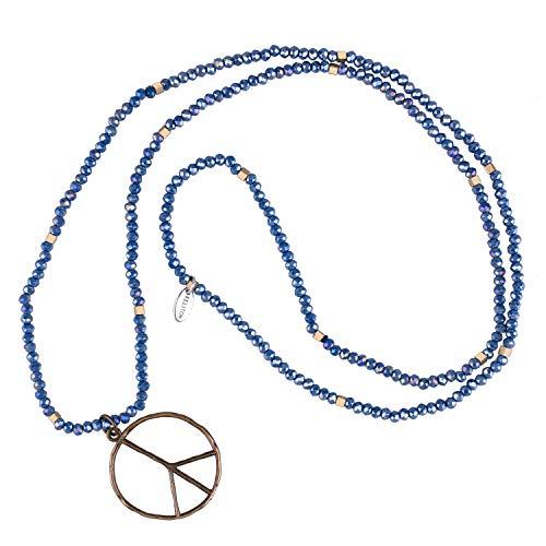 ieden Zeichen Liebe Hippie Anhänger Auf Mattiert Kristall Wulstig Halskette (Glänzend Blau) ()