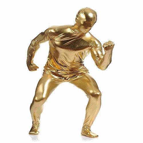 P Prettyia Spandex Body Suit Ganzkörperanzug Ganz Körper Suit Kostüme Overall Ganzkörper Anzug Catsuit Dancewear - Gold, XXL