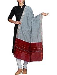 Unnati Silks Women Grey Pure Handloom Ikat Sambalpuri Cotton Dupatta With Weaving And Ikat Border From The Weavers...