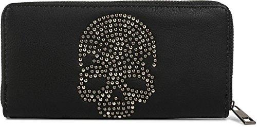 styleBREAKER monedero con aplicación de calavera de remaches, cremallera circular, cartera, señora 02040083, color:Negro