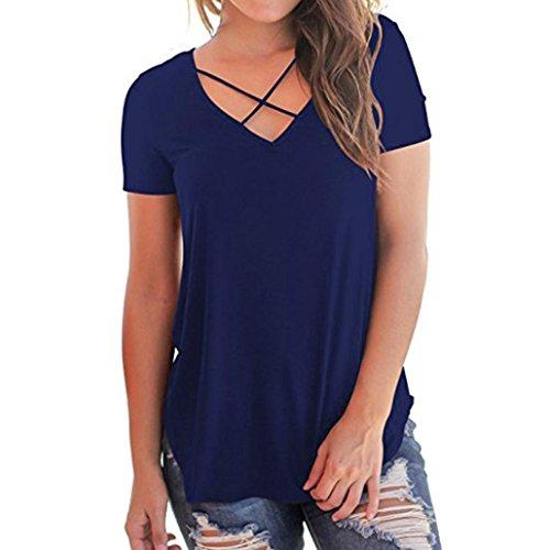 nitt Kurzarm T Shirt mit UnregelmäßIgem Saum Frauen Casual Solide Criss Cross Vorne Tops (2XL, Marine) (Niedliche Halloween T Shirts Für Frauen)