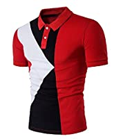 Tootlessly Men's Short-Sleeve Casual Geometry Print Top T-shirt Simple Red XXS