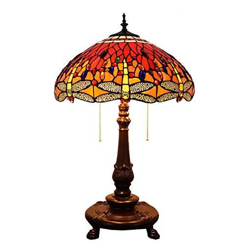 NCKPDL Flame Tiffany Nachttischlampe, Ehesaal Handgemacht Glasmalerei Antik Kupfer Und Aluminium Basis 1 Tischlampe, Schlafzimmer Wohnzimmer Nachttisch Nachtlicht -