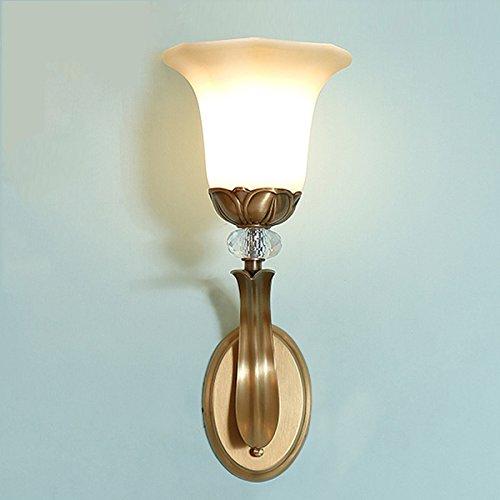Copper Wall Light Américain Minimaliste Miroir Avant Den Chambre Tête De Lit Bureau Salon étude Entrée Décor Tête Simple Lampe Abat-jour En Verre Clair (E14 Ampoules Non Inclus)