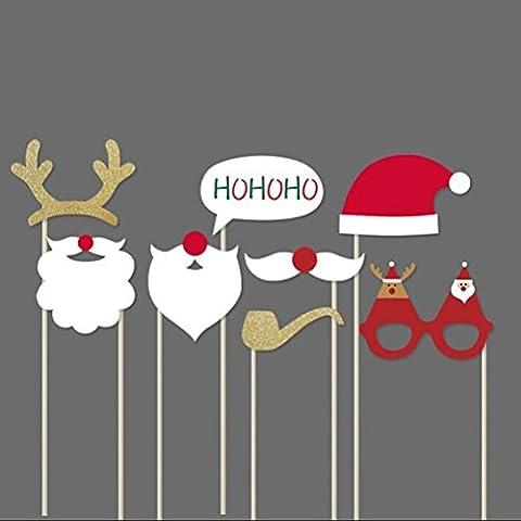 FENICAL Natale Photo Booth puntelli Photo Booth Prop DIY Kit fai da TE per feste con occhiali baffi cervo corno Santa Hat 8pcs