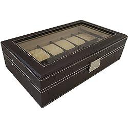 Leder Uhrenbox 12 Uhren mit stabiler Scharnierhalterung Uhrenvitrine Uhrenschatulle Dunkelbraun