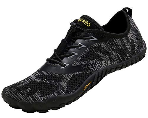 SAGUARO Barfussschuhe Herren Damen Traillaufschuhe Leicht Training Fitnessschuhe Wander Wald Strand Straßenlaufschuhe Outdoor & Indoor Sports Schuhe für Frauen Männer, Schwarz, 43 EU