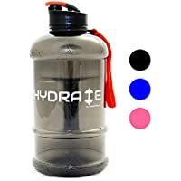 Hydrate 1.3 Litre Water Bottle - Now With Easy Drink Cap - Durable & Extra Strong - BPA Free - Ideal for: Gym, Dieting, Bodybuilding, Outdoor Sports, Hiking & Office - 100% Satisfaction