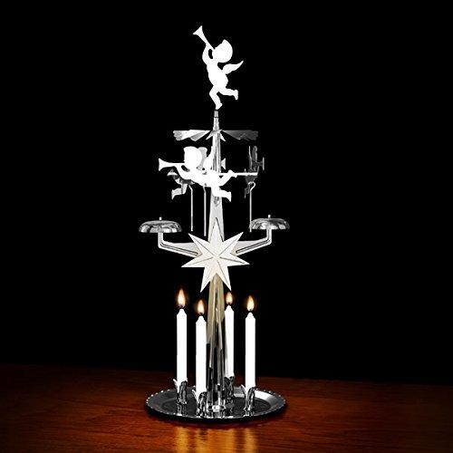 9011N - Portavelas para 4 velas, diseño de ángeles y campanas, color plateado