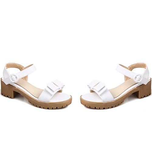 COOLCEPT Femme Mode Sangle De Cheville Sandales Talon Bloc Bout Ouvert Slingback Chaussures Avec Bow Taille Blanc