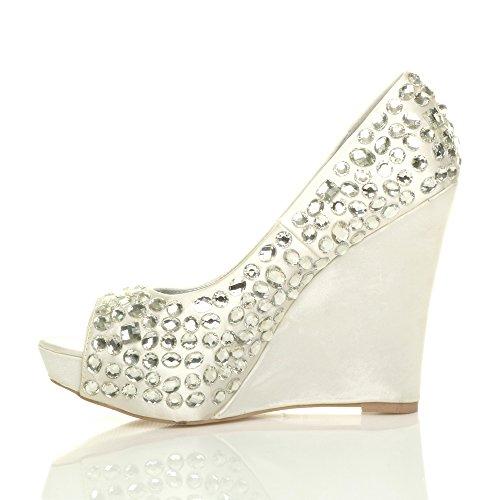 Noiva De Noite Cunha Tamanho Sandálias Toe Marfim Peep Gemas Alta Senhoras Strass Sapatos aAHc5wqq