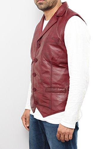 Hommes ŽlŽgant classique cinq boutons blazer en cuir classique veste / gilet Bourgogne