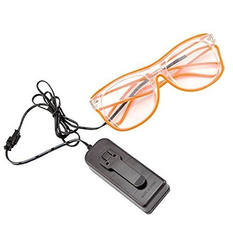 Rosa Schleife® LED Leuchten Luminous Brille Erstaunliche Kühle Brillen Glow Eye Fashion Eyewear Maske für Club Bar Disco DJ, Raves Verrückt, Christmas Nachtparty, Kostüme (Orange (Gruppe Von Vier Kostüme)
