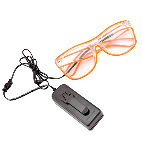 Rosa Schleife® LED Leuchten Luminous Brille Erstaunliche Kühle Brillen Glow Eye Fashion Eyewear Maske für Club Bar Disco DJ, Raves Verrückt, Christmas Nachtparty, Kostüme (Orange Licht) (Gruppen Von 4 Kostüme)