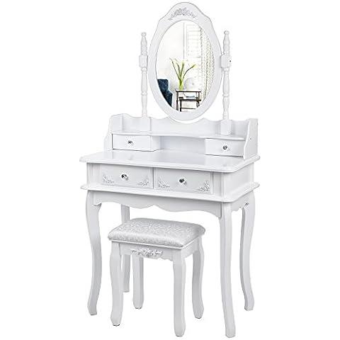 Songmics Tocador Mesa de maquillaje con 4 Cajones Espejo y Taburete 75 x 40 x 143,5 cm Blanco RDT12W