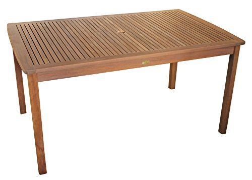 Linder-Exclusiv Echt Teak Tisch Gartentisch Teaktisch geölt 150 x 90 x 75 cm