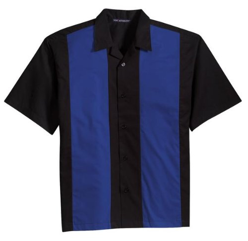 Port Authority Twill Retro Camp Shirt – Schwarz/Light Stone S Gr. XXXX-Large, Black/Royal (Herren-retro-camp-shirt)