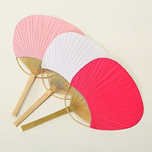 Home Collection Lote de 3 PAI PAI de Papel Abanico Plegable Abanico de Mano Colores Surtidos Rosa/Fucsia / Blanco 37 cm