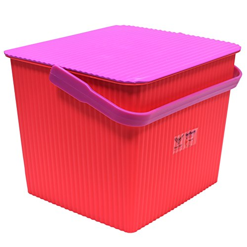 Oheligo Virgin Storage Boxes 10Liter Large Storage Container Bucket With Lid and Handle Storage Organization Small Laundry Basket (PINK){27X25X27CM}
