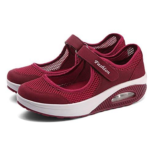 Sandalias para Mujer Malla Merceditas Plataforma Ligero Zapatillas Sneaker Mary Jane Casual Zapatos...