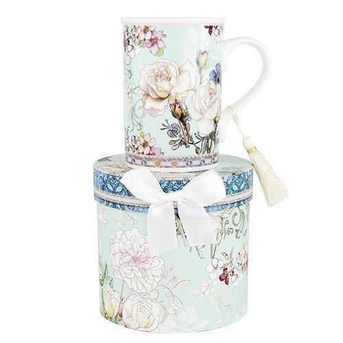Ashdene Flowers in pastels - white rose blue - Fine Bone China Cup Mug Porzellantasse Tasse Becher tazza taza 11cm 300ml, Gift box, best quality, ASHDENE, Australia (China Blue Bone Fine)