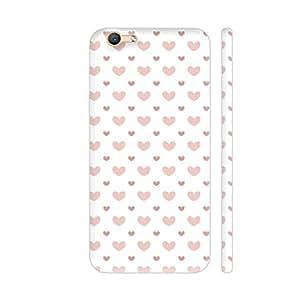Colorpur Vivo V5 / V5s Cover - Brown Hearts On White Printed Back Case