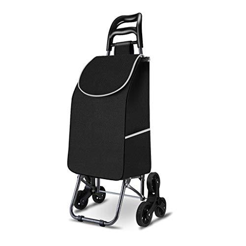 Escaleras de Escalada Carros de Compras Remolques Plegables portátiles para el hogar Paquete Desmontable Un Coche de Doble Uso de Gran Capacidad con Ruedas Aleación de Aluminio (Color : Negro)