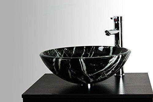 Home Supplies Lavello in vetro da appoggio, effetto marmo bianco e nero