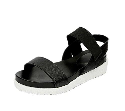 Hafiot donna sandali bassi estivi eleganti, plateau con tacco zeppa pelle mare infradito ciabatte piscina scarpe scarpette nero bianche argento 35-40 bk39