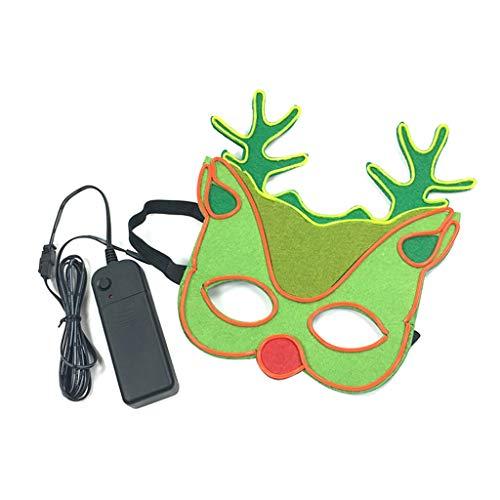 chenpaif Navidad LED máscara Ciervo Cosplay Traje Que Brilla intensamente en la Oscuridad fría luz Fiesta de Navidad Festival Masquerade Supplies