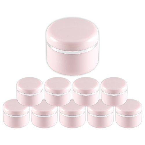 10 Stück 5ml Geltiegel rosa - Leerdose - Cremedose mit Silberrand und Abdichtscheibe