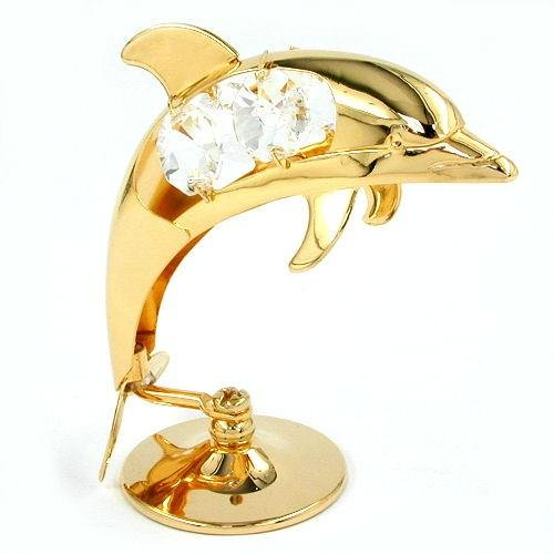 DECORATIONS, DOLPHIN, CRYSTAL ELEMENTS, GOLD-PLATED, NEW (Crystal-tier-figur)
