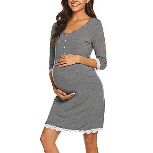Anmain girocollo vestito da maternità donna pulsante abito di maternità abito in pizzo manica lunga pigiama camicia notte confortevole camicia da notte per allattamento vestito premaman casual madre
