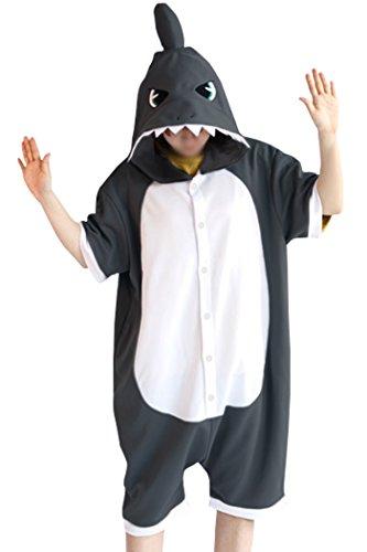 Sommer Kostüm - wotogold Herren Sommertier Shark Pyjamas Cosplay Kostüme Large Sommer-Dunkelgrau