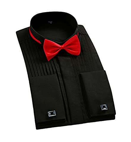 Cloudstyle Mens Black Wing Collar Dress Shirts Long Sleeve Pleated Tuxedo Shirts