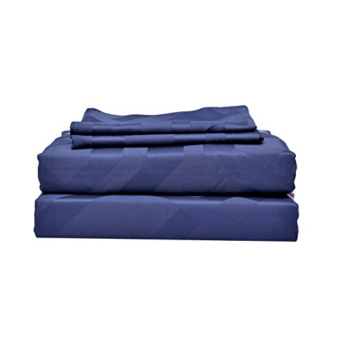 Just Leinen 400Fadenzahl 100% Qualität Ägyptische Baumwolle echtem Jacquard Damast selbst geometrisches Design, Mond Licht blau Farbe, doppelte Größe Betten Spannlaken mit Set Deep, Blatt, baumwolle, Moon Light Blue, Doppelbett